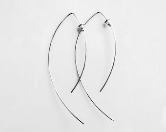 Minimalist Silver Earrings, Open Hoop Earrings, Arc Earrings, Sterling Silver Jewelry