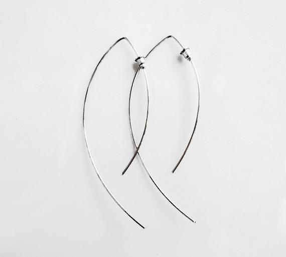 Minimalist Silver Earrings, Open Hoop Earrings, Arc Earrings, Sterling Silver Jewelry