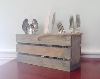 Silverware Holder, Utensil Holder, Table Centerpiece, Reclaimed Wood, Napkin Holder, Farmhouse Table, Basket, Woodwork