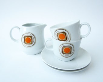 Vintage COFFEE CUP saucer set⎮BAREUTHER ceramic Germany⎮orange green brown dot⎮mid century modern⎮duo 5 pieces set