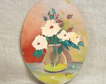 Flower Painting , Floral Still Life , Still Life Painting , Oval , Flowers , Still Life , Cottage Chic , Handmade , Original , Hand Painted