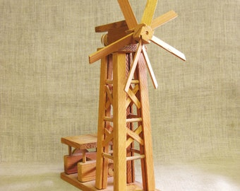 Folk Art Windmill, Oil Derrick, Handmade, Miniature Model, Wood Model, Architectural Model, Scale Model, Derrick, Folk Art, Handmade, Toy