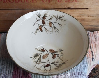 Pinecone pottery large serving bowl - 40 oz - Rustic up north style - handmade ceramic serving bowl - Large Pottery Bowl - 0122