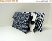 ON SALE Set of 3 Navy Blue Bridesmaid Clutches with Gray LIning and Buttons