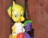 Bird Feeder--Vintage Warner Brothers Tweety Bird Bird Feeder--Tube Bird Feeder--Yellow Tweety Bird - Roman Goddess Bird Feeder 1995