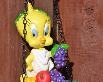 Bird Feeder--Vintage Warner Brothers Tweety Bird Bird Feeder--Tube Bird Feeder--Yellow Tweety Bird - Roman Goddess Bird Feeder 1995