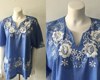 Beautiful Light Blue Hippie Top with White Floral Embroidery