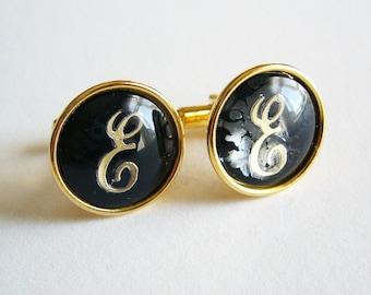 Monogram E Cufflink Set - Gold Tone Metal Posts w/ Black & Gold Cabochon Cufflinks