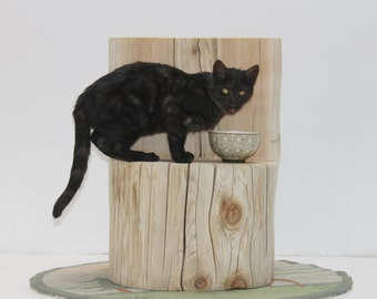 Tree Stump Cat Perch Pet Stand Display Photo Prop Dog