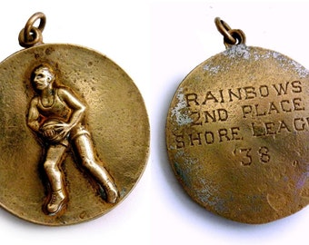 Vintage 1930s Basketball Medal Art Dated 1938 Basketball Team Medallion - 1930s Sports Medal - Rainbows 2nd Place Shore League '38