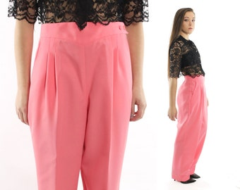 Vintage 80s High Waisted Pants Pleated Trousers Coral Wide Leg Slacks 1980s Large L