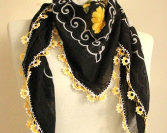BLACK Yellow scarf Turkish Yemeni Square Scarf bridal scarf authentic, romantic  elegant, fashion,