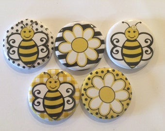 set of 5 Bumble bee Mini 1 inch magnets or 1.25 inch button magnets  you choose size