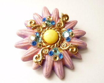 Whimsical 1980s Purple Pin by French Designer Jacky De G