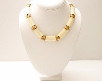 Sleek Napier Vintage Choker Necklace Cream Enamel Gold Accents