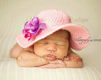 Crochet Newborn Baby Girl Spring Sunhat, Made To Order Summer Hat, Handmade, Photo Prop,  Photography Prop, Baby Shower Gift