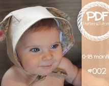 Ear Bonnet Sewing Pattern // Reversible Baby Bonnet // Deer // Lamb // Kangaroo // Ear Add on // Sun Bonnet // Baby Bonnet Pattern // PDF