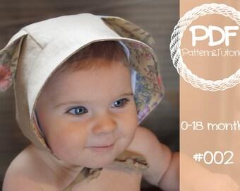 Brimmed Bonnet Sewing Pattern // Reversible Baby Bonnet // Deer // Lamb // Kangaroo // Sun Bonnet // Bonnet Pattern // Baby Girl // Baby Boy