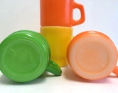 Vintage Anchor Hocking Stackable Milk Glass Mugs Set of 4 Yellow Orange & Green