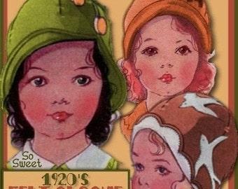 SALE E-Z Sweetest Toddlers 1920s Felt Cloche Hat e-pattern - 3 Styles