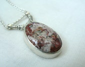 Sterling silver and Fire Opal Gemstone Pendant with chain - READY TO SHIP