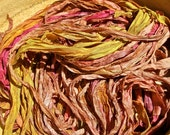 Sorbet Recycled Sari Silk Thin Ribbon Yarn 5, 10 - 40 or 45 Yards for Jewelry Weaving Spinning & Mixed Media