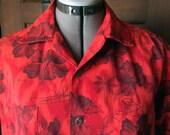1960s Duke of Hollywood Red Hibiscus and Sailing Hawaiian Shirt Man's Small