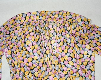 Pretty Floral Wrap Blouse with Front Tie- Size M