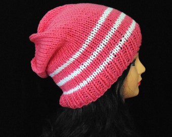 Pink and White Slouchy Beanie Hat, Ski Hat