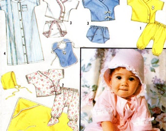 Infant Layette Pattern - Simplicity 7085 - UNCUT FF Newborn to 12 months