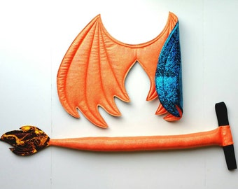 Dragon Wings and Tail SET, Charizard dragon cosplay, Orange and blue dragon, Fire dragon, wire free, dragon costume, , Halloween costume