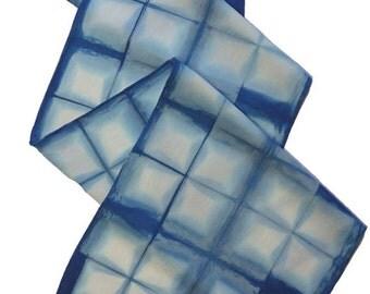 Indigo shibori silk charmeuse scarf