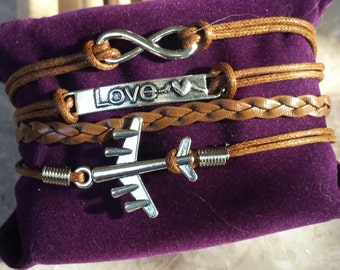Airplane, love, infinity multi strand bracelet, charms, silver tone, brown, 6 1/2 inch to 8 1/2 inch adjustable