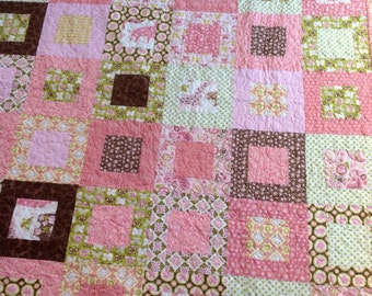 Baby Girl or Lap Quilt -- pink, green, brown, white, animals, zoo, flowers, Animal Parade -- pattern also available