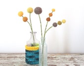 Yellow flower bouquet.  Wool felt pom poms.  Woodland Decoration.   Buttercups, Craspedia. Ombre Pompoms.  Modern Mustard and brown floral