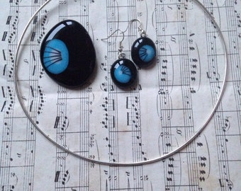 OOAK black blue and white pendant and earring set fused glass Valentine gift