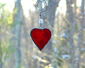 Red heart suncatcher, stained glass suncatcher, hanging heart with hanger, heart gift for her under 10, Mothers day gift, love romance