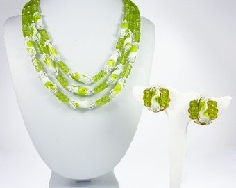 Hobe Necklace, Hobe Earrings, Foil Glass, Lucite Beads, Chartreuse Green, White, Vintage Jewelry Set
