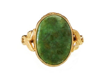 Clark and Coombs, Vintage Ring, 10K Gold Filled, Green Quartz, Vintage Jewelry, Size 4.75