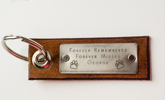 Pet Dog Memorial Custom Leather Keychain- Rest in Peace