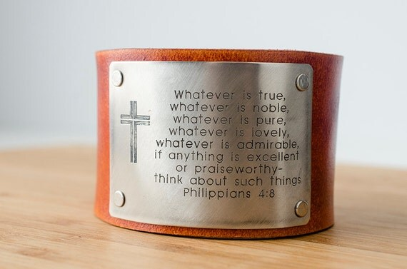 Philippians 4:8 Custom Scripture Bible Verse on Wide Distressed Leather Cuff