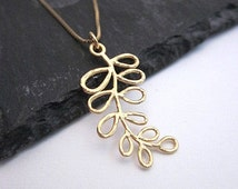 Leafy Gold Necklace -- Curved Gold Necklace -- Gold Branch Necklace -- Gold Leaf Pendant Necklace -- Gold Leaf Jewelry