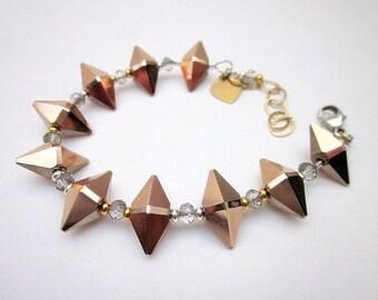 Rose Gold, Sterling & Gold Bracelet -- Spike Bead Bracelet -- Rose Gold Crystal Bracelet -- Rose Gold Swarovski Bracelet -- Mixed Bracelet