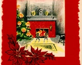 Vintage Christmas Card Pretty Fireplace Hearth Tree Lights