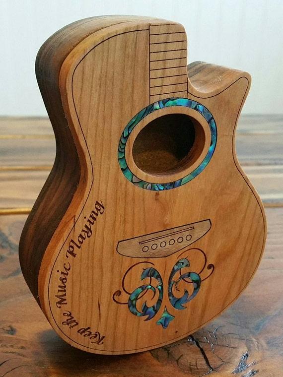 items similar to guitar pick box inlaid custom wood acoustic guitar shape box on etsy. Black Bedroom Furniture Sets. Home Design Ideas