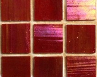 MY14130 Red Lacquer Iridescent Stained Glass Tiles-25 pc//Discount Mosaic Supplies/Mosaic