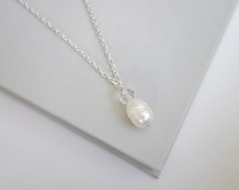Pearl pendant necklace white freshwater pearl chain necklace minimalist pendant necklace