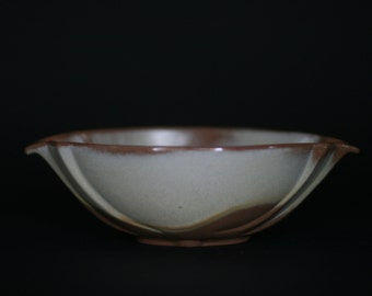 vintage francoma oval dish in cream and brown