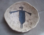 Ceramic Rock Art Dish - Rare Black Esplanade Anthropomorph