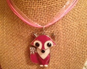 Pink and White Fox Pendant Pink Organza Ribbon Necklace